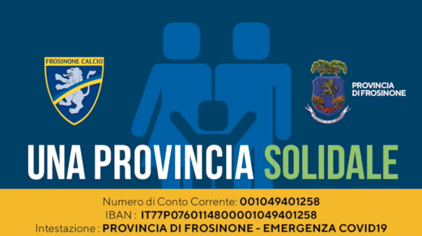 Il Frosinone aderisce a Provincia Solidale
